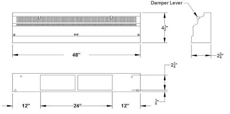 """TruAire 48"""" Baseboard Register Submittal Drawing"""