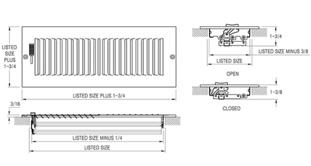 Accord 202 Sidewall / Ceiling Register - Submittal Drawing