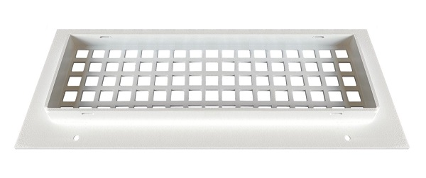 Steel Crest Silver Series 12 x 4 White Wall Grille BACK - Square