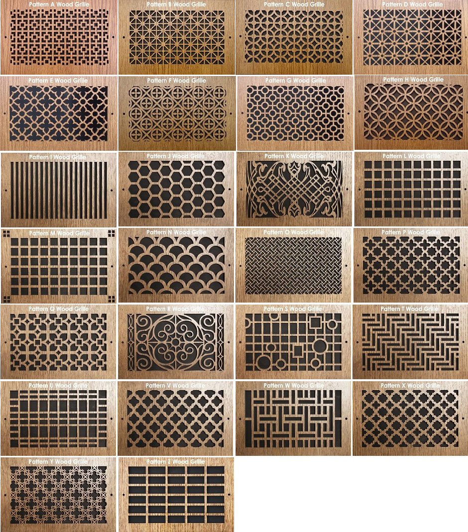 Wood wall registers decorative vent pattern cut designer wall registers amipublicfo Images