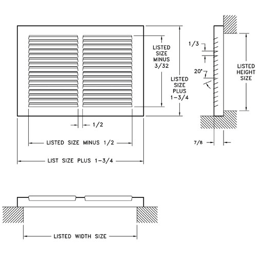Hart & Cooley 657 Baseboard Return Air Grill Submittal Drawing