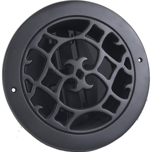 Classic Grills Renaissance Style Round Return Air Grills - Black Painted Aluminum