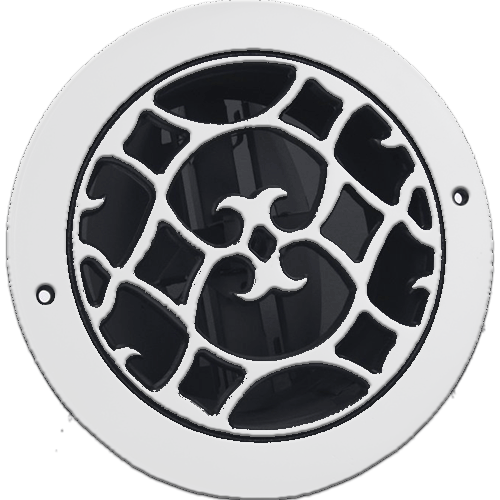 Classic Grills Renaissance Style Round Return Air Grills - White Painted Aluminum