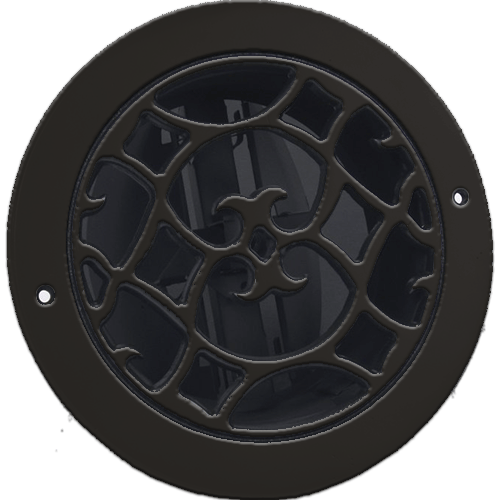 Classic Grills Renaissance Style Round Return Air Grills - Brown Painted Aluminum