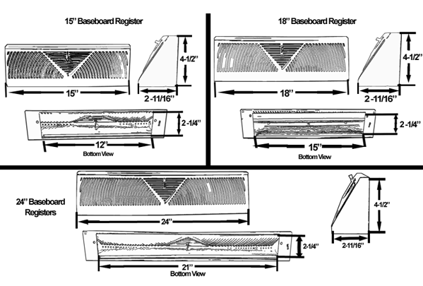 White Baseboard Register Submittal Drawing