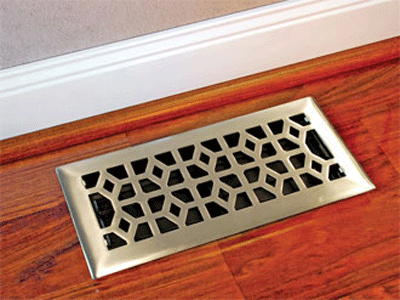 Marquis Design Solid Floor Register - Nickel Plated