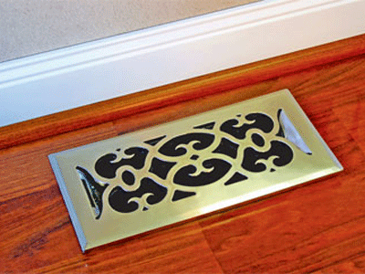 Victorian Plastic Nickel Floor Register