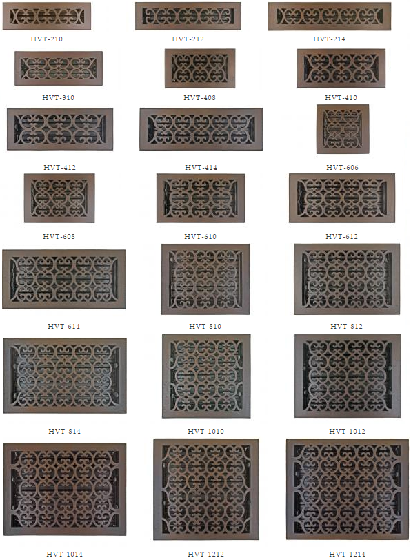 Bronze Patina Scroll Registers