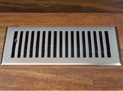 Flat Floor Register in Satin Nickel
