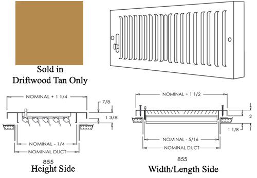 Shoemaker 855 Brown Baseboard Register Drawing