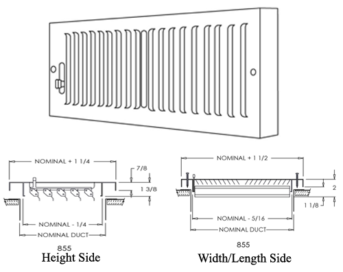 Decorative Baseboard Registers - Shoemaker 855