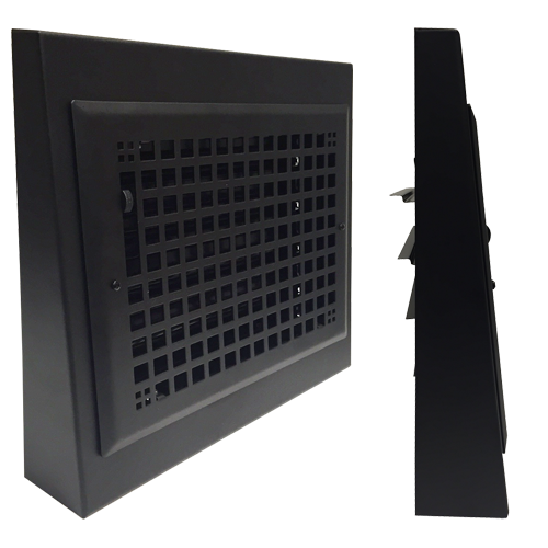 Black Decorative Baseboard Register - Gravity Baseboard Register