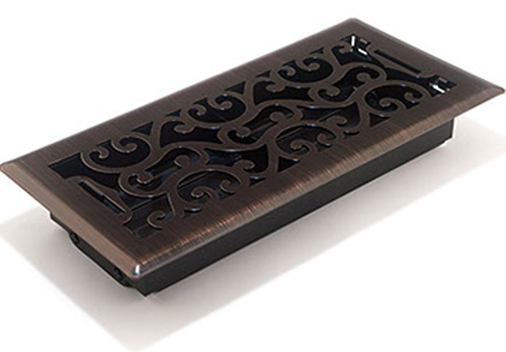 Oi lRubbed Bronze Floor Register - Decorative Floor Vents