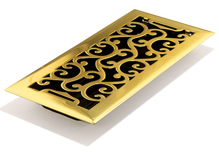 Polished Brass Floor Vent - Charleston Floor Register