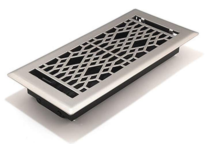 Satin Nickel Floor Register Cathedral by Accord