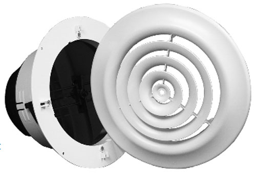 Plastic Round or Square Ceiling register with attached collar