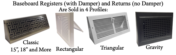 Types of Baseboard Vents - What kind of Baseboard Vent Should I Order