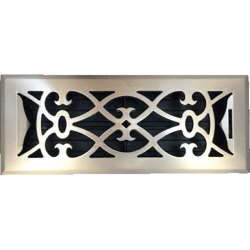 Decorative Plastic Nickel Floor Vent - Victorian Scroll