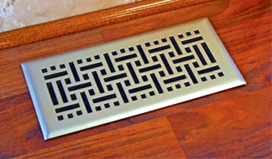 Wicker Satin Nickel Floor Register Vent