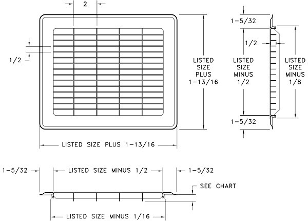 Heavy Gauge Floor Grille Submittal Drawing