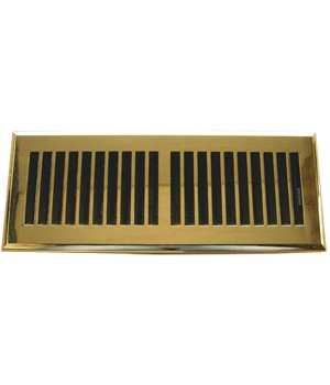 Polished Brass Plastic Floor Vent - Rust Proof Damper