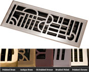 Coastal Bronze Brass Art Deco Floor Register - 5 Finishes