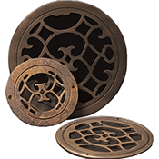 Classic Grills Renaissance Themed Round Return Air Grills - Bronze