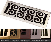 Coastal Bronze Brass Legacy Scroll Floor Register - 5 Finishes