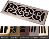 Coastal Bronze Brass Scroll Floor Register - 5 Finishes